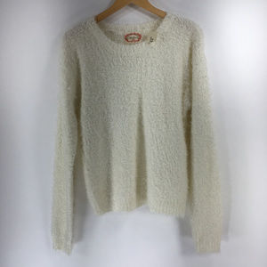 Ambiance Forever 21 L Ivory Cream Fuzzy Sweater